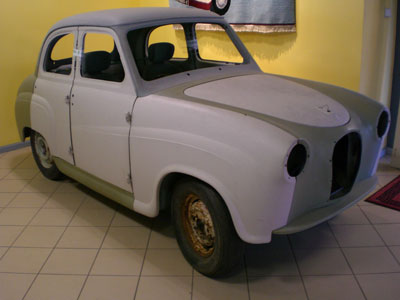 Sanded and reshaped Austin A30 frame, engineered and refurbished by Allan's Motor Engineering. Parramatta, Sydney NSW.