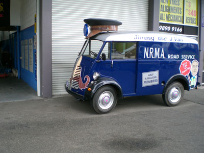 Fully restored novelty Morris J Van. As part of a NRMA indorsed promotion Jimmy the J Van was shown off all around town producing a smile from everyone who witnessed it.